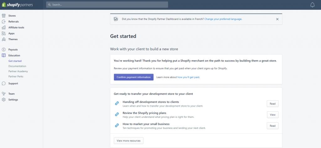 Shopify Partners Dashboard
